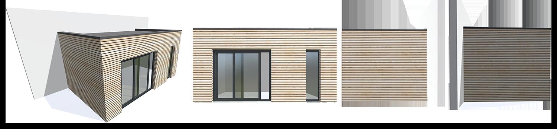 extension en bois modélisation 3D