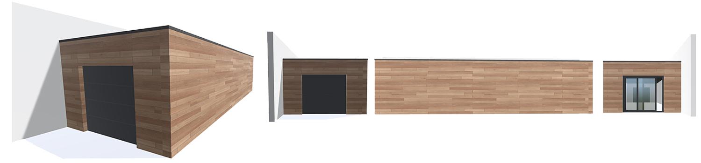 modélisation 3D pour garage en bois avec mon extension bois